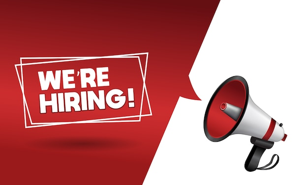 We are hiring greeting card with megaphone