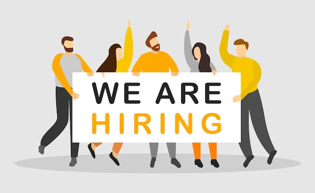 We are hiring group of people are holding paper