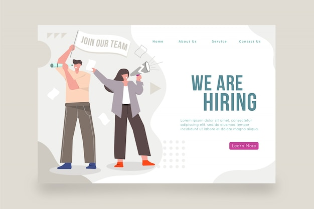 We are hiring home page with illustration