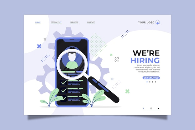 We are hiring home page with illustrations