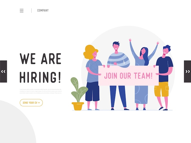 We are hiring illustration concept, job recruitment people characters holding banner , for landing page, social media template, ui, web design, mobile app, poster, flyer