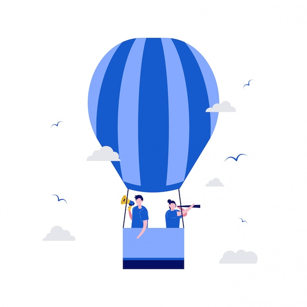 We are hiring illustration concept with characters and air balloons.