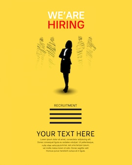 We are hiring job poster with woman silhouette