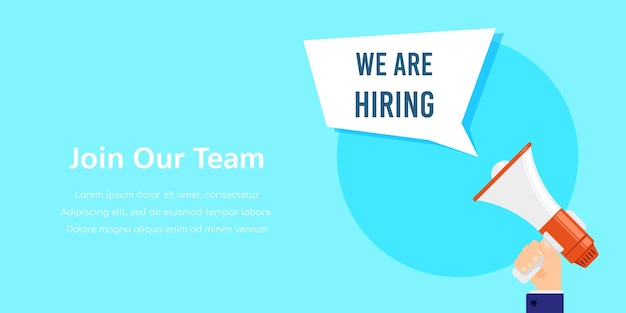 We are hiring. job search, recruiting, human recource concept.