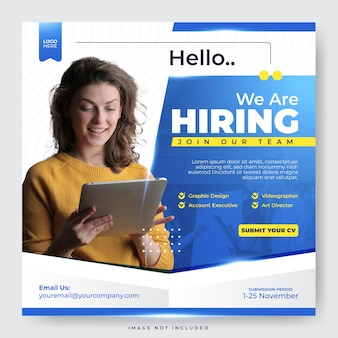 We are hiring job vacancy employee for social media post template