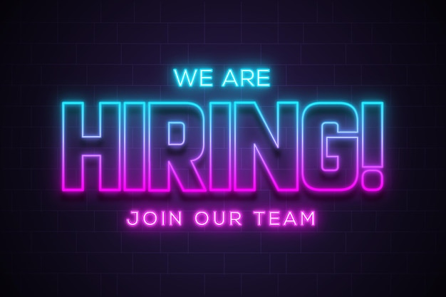 We are hiring join our team announcement lettering in neon glow effect