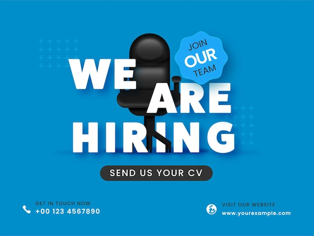 We are hiring join our team concept with vacant office chair for designation.