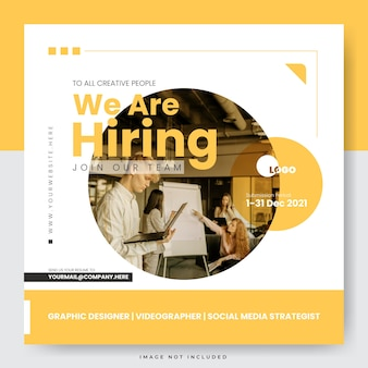 We are hiring join our team social media post template