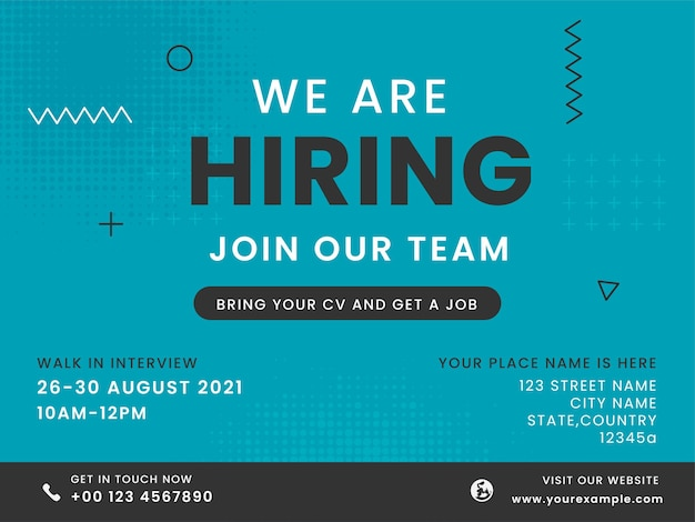 We are hiring join our team text on blue halftone effect background.