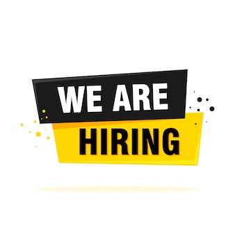 We are hiring label sign. black and yellow origami style sticker.  illustration.