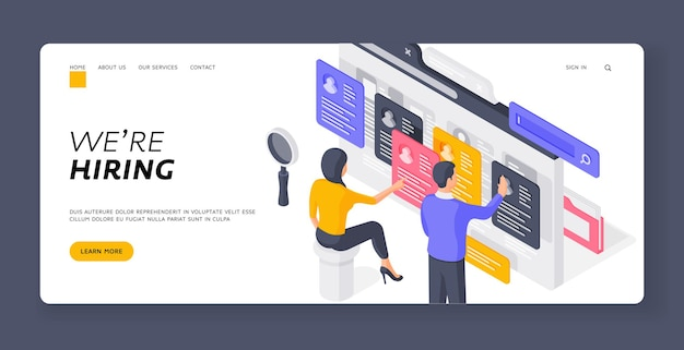 We are hiring landing page banner template. human resources specialists browsing resumes. man and woman are view of job applicants in internet on recruitment company. isometric  illustration