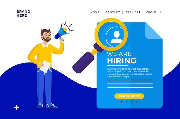 We are hiring landing page concept