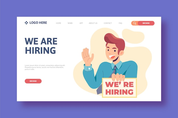 We are hiring landing page illustrated
