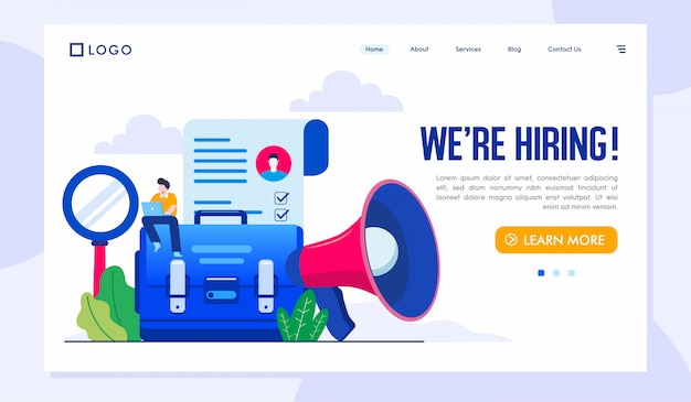 We are hiring landing page illustration vector template