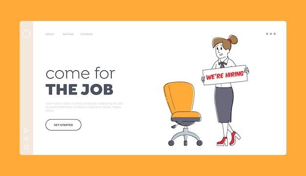 We are hiring landing page template. hr manager character search employee hire on job stand near vacant seat