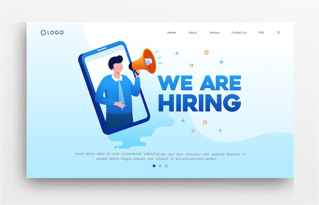We are hiring landing page website illustration flat   template