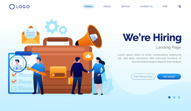 We are hiring landing page website illustration vector template