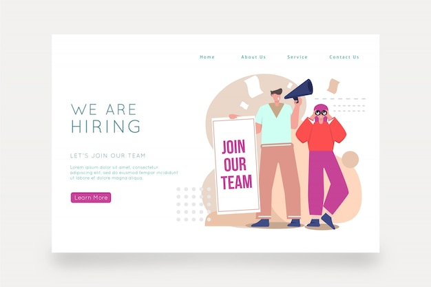We are hiring landing page with illustration
