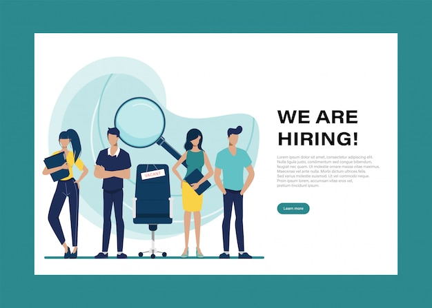 We are hiring  landing page with people character.