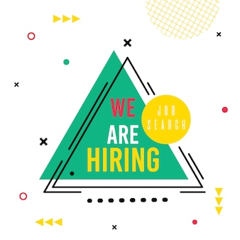 We are hiring, lettering on abstract triangle, job search