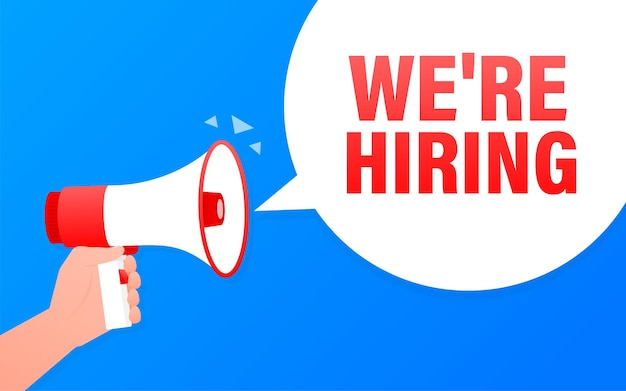 We are hiring megaphone blue banner in flat style.   illustration.