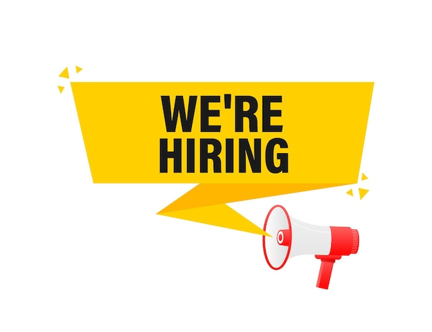We are hiring megaphone yellow banner in 3d style    illustration.