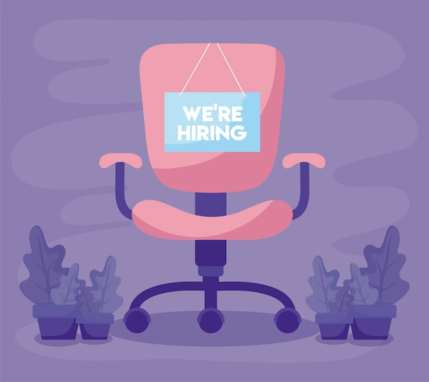 We are hiring message with office chair and plants