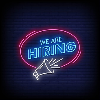 We are hiring neon signs style text