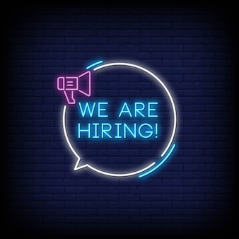 We are hiring neon signs style