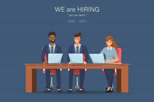 We are hiring and online recruitment business people concept.