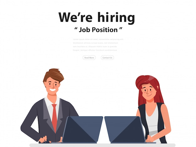 We are hiring and online recruitment concept business people with laptop.