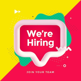 We are hiring poster or banner design with speech bubble and geometric shapes. vector illustration