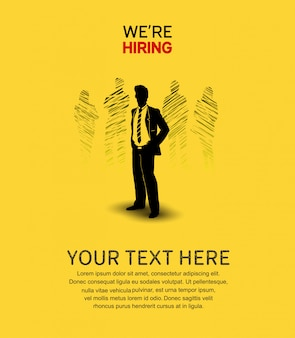 We are hiring poster yellow background