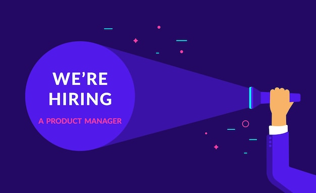 We are hiring a product manager flat vector neon illustration for ui ux web and mobile design