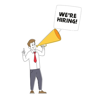 We are hiring, recruiting, head hunting concept. manager character search employee hire on job using megaphone