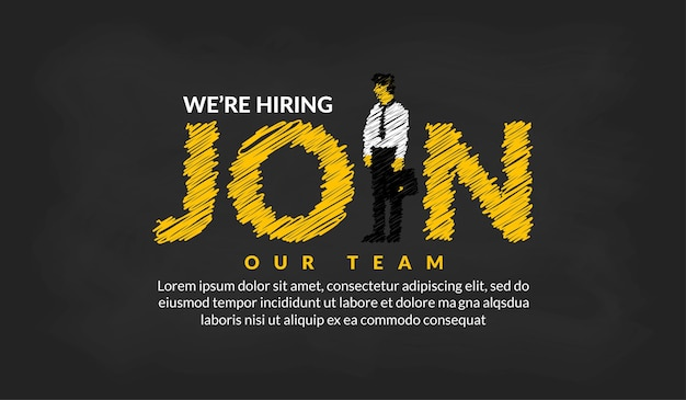 We are hiring recruitmen lettering with businessman background job vacancy concept