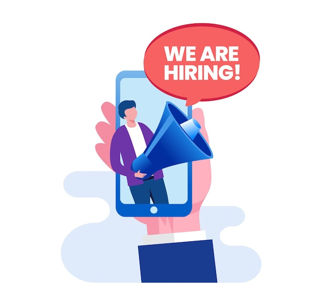 We are hiring or recruitment concept flat vector illustration for banner