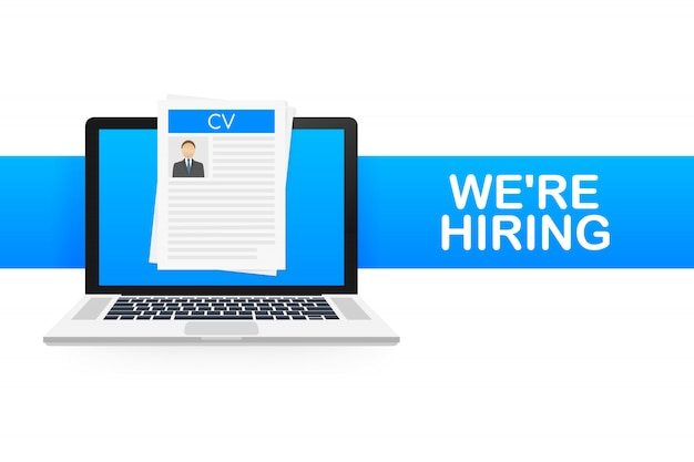 We are hiring. recruitment . hire workers, choice employers search team for job. resume icon.  illustration.