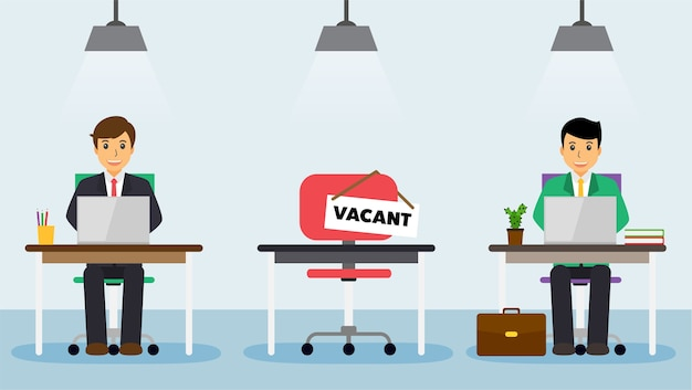 We are hiring sign at comfort vacant working chair