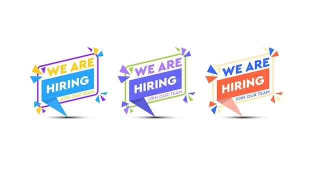 We are hiring in speech bubble set