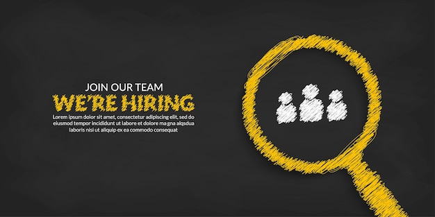 We are hiring template job vacancy background with magnifying glass  business recruitment concept