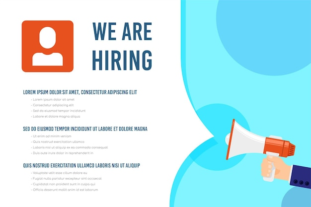 We are hiring template with text sample illustration
