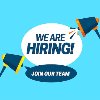 We are hiring vacancy concept poster template outsource team hire creative employee