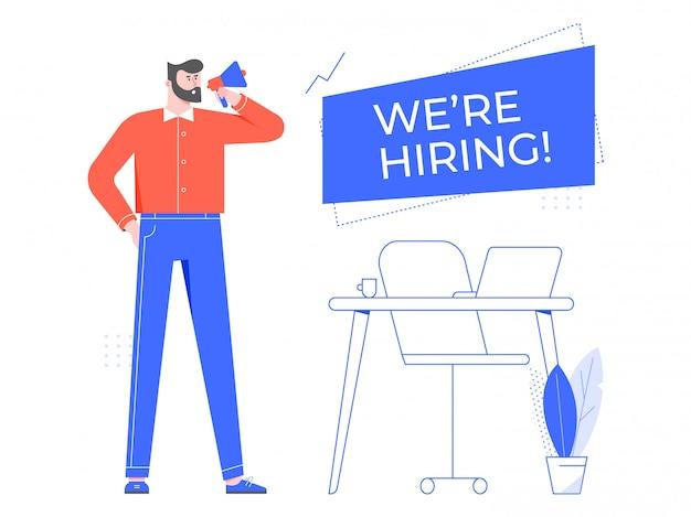 채용중. 빈 직원 직장, 새 직원을 고용하는 팀 관리자 및 사무실에서 직원을 고용하십시오. 헤드 헌터 평면 그림입니다. 스피커 배너와 모집, hr 전문 만화 캐릭터
