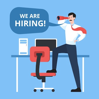 We are hiring with businessman holding telescope. staffing & recruiting business concept