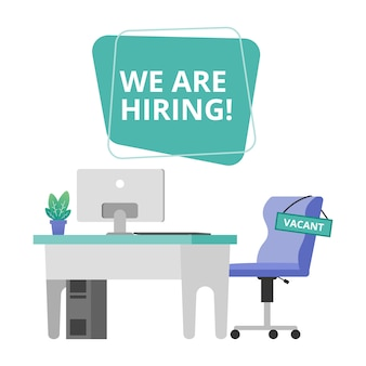 We are hiring with empty office chair illustration. staffing & recruiting business concept