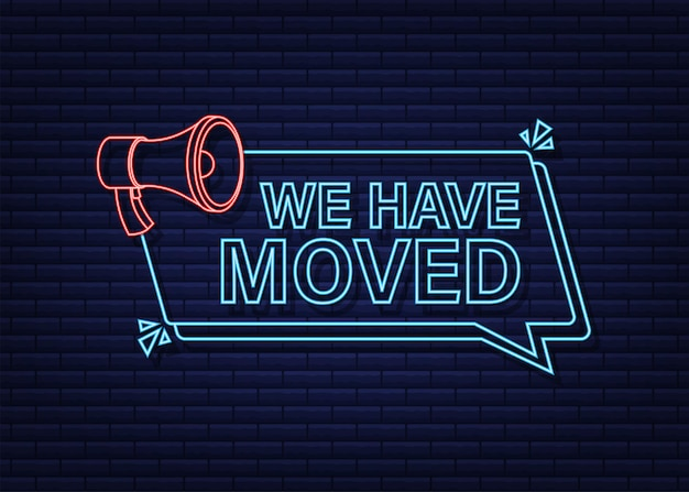 We are moving neon icon badge ready for use in web or print design neon icon