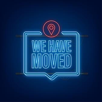 We are moving neon icon badge ready for use in web or print design