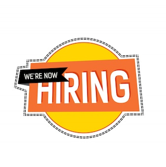 We are now hiring lettering on yellow circle with ribbon and dashed contour.