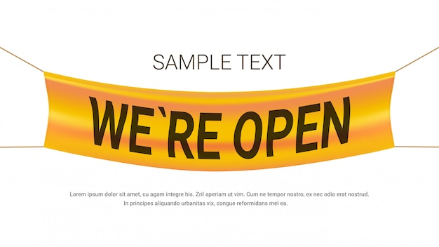 We are open advertising banner grand store opening concept label with text flat copy space